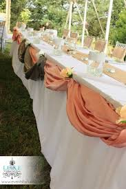 Burlap Rustic Wedding Head Table Decoration Peach And Silver Draping