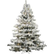 Vickerman Flocked Alaskan Pine Artificial Christmas Tree With Warm White Mini Lights