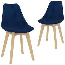 esszimmerstühle 2 stk blau samt