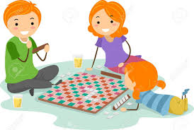 Illustration Of A Family Playing Board Game Stock