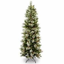 7 1 2 Ft Wintry Pine Slim Hinged Christmas Tree W 400 Clear Lights