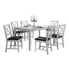 100 Living Room Table Modern Indoor White And Black CrossBack 7Piece Dining Set Solid Wood Rectangular Dining