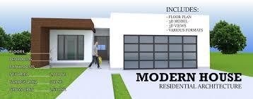 100 Modern House 3 MODERN RESIDENTIAL HOUSE 1 STORY 4 BEDROOM CAR GARAGE D Model