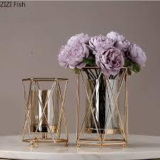 kreative nordic metall eisen geometrische glas gold vase wohnzimmer dekoration blume anordnung moderne dekoration vasen