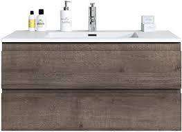 badezimmer badmöbel set angela 100cm braun eiche unterschrank schrank waschbecken waschtisch