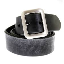 worn finish black leather belts for men by sugarcane uk