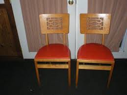 Stakmore Folding Chairs Vintage by Vintage Stakmore Carved Leaf Folding Oak Chairs 3 Deco 167040540