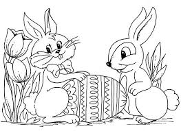 Bunnies Two Easter With An Egg Coloring Page