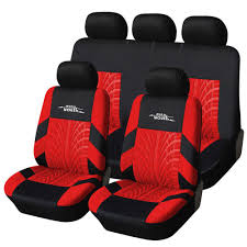 Autoyouth 3 Colour Track Detail Style Car Seat Covers Set Polyester ...