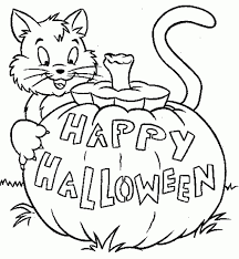 Happy Halloween Cat Coloring Pages
