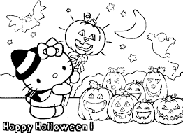 Happy Halloween Coloring Page Hello Kitty
