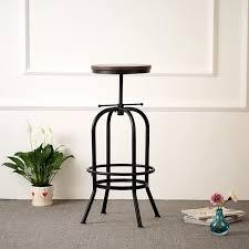 siege de style ikayaa chaise de style industriel siège ajustable de bar en bois