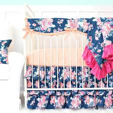 charlie s coral navy floral bumperless crib bedding caden lane