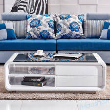 White High Gloss Coffee Table With Black Glass Top Modern Living Room Furniture