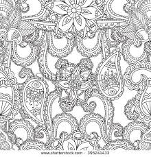 Coloring Pages For Adults Seanless PatternHenna Mehndi Doodles Abstract Floral Paisley Design Elements