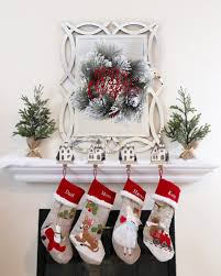 Our Home For Christmas | It's A Beautiful Life Decorating Rustic Stocking Holders With Pottery Barn Holder Christmas Stockings Forids Velvet Mantel Hangers Christmas Stocking Holder By Ohhappydayco Heavy Decor Metal For Mantle North Pole Shing Season Shop Silver Reindeer Hook Streamlined Reindeer Glistens Hanger