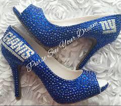 custom crystal rhinestone ny giants themed custom high heel