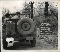 "1944 Photo Of Jeep At ""Achtung"" Sign On EBay 