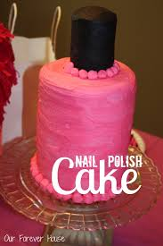 Pizza And Cake Were A Big Hit The Girls Loved Nail Polish I Used 4 6 Rounds Stacked Up Topped With Stack Of 3 Cupcakes For