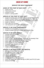 100 Truck Pre Trip Inspection Checklist Heavy Equipment Daily Report Service Record