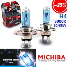 michiba h4 60w 55w 5000k white halogen headlight bulbs for