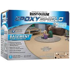 Rustoleum Garage Floor Epoxy Kit Instructions by Rust Oleum Epoxyshield 1 Gal Tan Satin Basement Floor Coating Kit