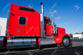 Profile Of Bright Red Big Rig Classic American Semi Truck With ...