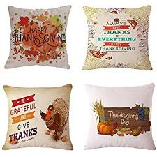 BPFY Happy Thanksgiving Pillow Covers 18 x 18 Inch Cotton Linen Home Thanksgiving Decorations Sofa Throw