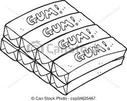 Black And White Cartoon Chewing Gum Vector