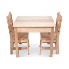 Melissa & Doug Wooden 3 Piece Rectangular Table And Chairs Set ...