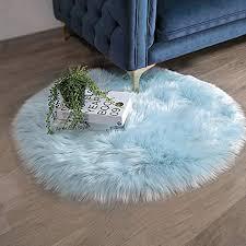 ashler weicher kunstfell teppich für stuhl sofa wohnzimmer modern 3 x 3 ft hellblau