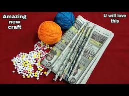 DIY Best Out Of Waste Newspaper Wool Thermocol Balls Cool Craft Idea