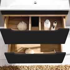 badezimmermöbel set in seidenmatt anthrazit mit wotaneiche new luton mit 60cm keramik waschtisch led spiegel b h t ca 110 200 46cm