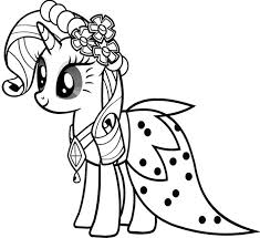 My Little Pony Rarity Wear Dresses Coloring Pages For Kids Printable