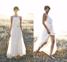 Rustic 2015 Backless Bridal Gowns With Wedding Veil Simple Sexy Lace Dress Halter Off The