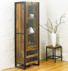 Nice Rustic Brown Wooden Glass Door Display Cabinets