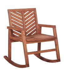 Walker Edison Brown Chevron Acacia Patio Rocking Chair