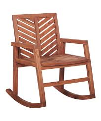 Walker Edison Brown Chevron Acacia Patio Rocking Chair