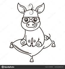 Cerdo De Dibujos Animados Lindo Bebé En Una Gafas De Sol Frescas