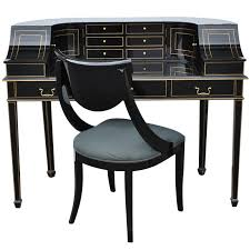 Maitland Smith Map Desk by Maitland Smith Black Lacquer And Gold Regency Carlton House Style
