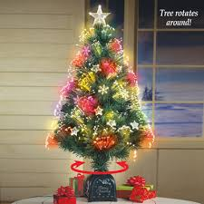 Rotating Fiber Optic Tabletop Christmas Tree