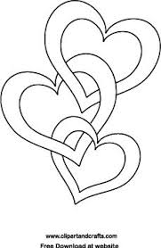 Wedding Or Valentine Design For Crafts And Coloring 3 Joined Hearts