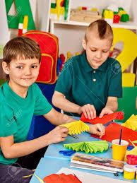 Children Cutting Paper In Class Kids Development And Social Lerning School Childrens
