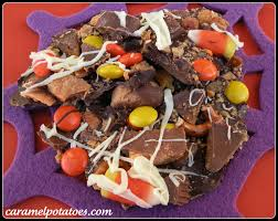 Halloween Candy Dishes by Caramel Potatoes Halloween Candy Bark