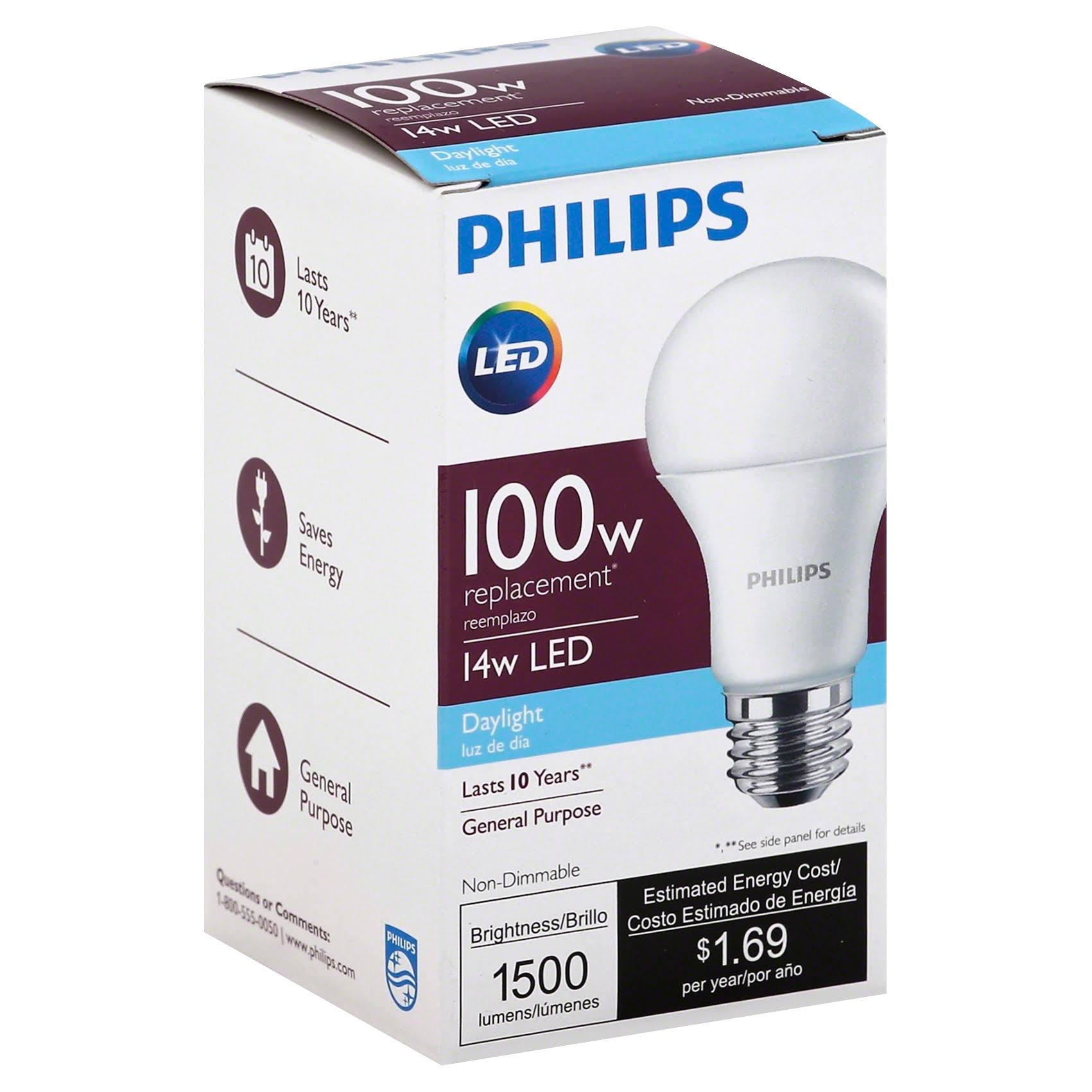 Philips 455717 Equivalent A19 LED Daylight Light Bulb - 100W, 4pk