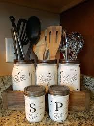 Utensil Mason Jar Holder With Salt And Pepper Shaker Option Kitchen Storage