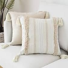 lomohoo boho throw kissenbezug kissen tufted tassel woven decorative kissenbezug für sofa schlafzimmer wohnzimmer gelb 18x18 inches