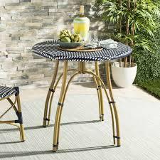 Safavieh Outdoor Living Kylie Navy/ White Rattan Bistro Table - 31.5