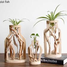 holz transparent vase platte vase hause minimalistischen dekoration wohnzimmer büro desktop dekoration kleine ornamente