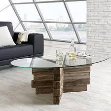 design glas couchtisch balkat aus teak altholz balken